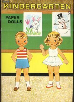 1960s-KINDERGARTEN-PAPER-DOLLS-Sallfield-UNCUT-w-4-punch-out-dolls