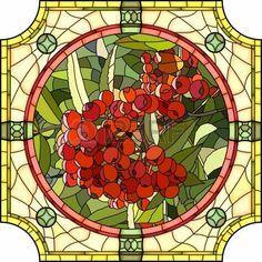 22698194-wektor-mozaika-z-dużych-komórek-jaskrawo-czerwone-jagody-jarzębina-w-okrągłym-witrażu-ramie.jpg (450×450)