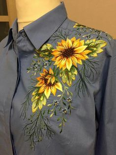 Embroidery designs machine embroidery designs machine blouse 18 ideas for 2019 Embroidery On Clothes, Embroidered Clothes, Embroidery Fashion, Silk Ribbon Embroidery, Embroidery Dress, Hand Embroidery, Hand Painted Dress, Painted Clothes, Machine Embroidery Designs