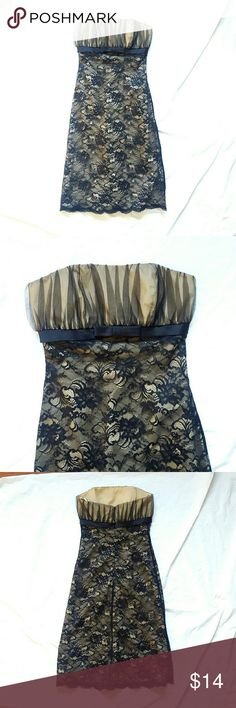 """Black Lace over Champaign Strapless Dress Black Lace over Champaign Strapless Dress Excellent condition! Brand is Pinky & Me Size 2 Measurements  Chest 15.5"""" Length 38"""" pinky and me Dresses Strapless"""