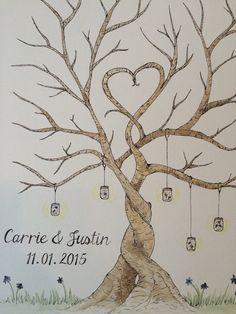 Custom finger print tree wedding guest book by hellosugardesigns