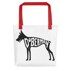 8ed26b81d19c3 Typography on Doberman pinscher dog Tote Bags by Apostrophe Art   Inktale  Fashion Line, Typography