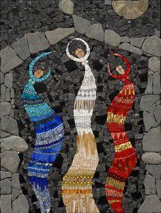 "Ancient Airs and Dances II    18"" x 24""    marble, smalti, gold, pyrite sun, glass, beads, millefiori, stones    2007"