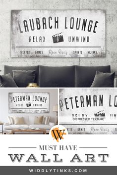Vintage Industrial Family Lounge Sign : Personalize your comfort zone with this family lounge sign. Graphic and industrial with vintage. Rustic Wall Art, Unique Wall Decor, Farmhouse Wall Decor, Country Decor, Farmhouse Signs, Western Decor, Rustic Decor, Modern Farmhouse, Modern Industrial Decor