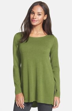 Ballet Neck Swoop Back Lightweight Merino Tunic by Eileen Fisher $238.00 | Details on motoomotive.com