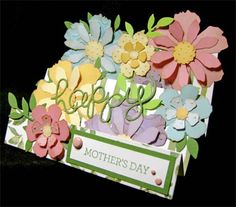 Floral Mother's Day made with Tim Holtz tattered flowers dies. This could be made with SU Flower Patch stamps & Flower Fair dies.
