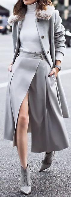 Winter Outfits and Essentials - Wow this all gray look is powerful! Go Girl!  Styling Tips for trendy fashionistas