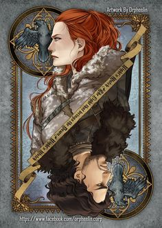 First series of Game of Thrones cards by Orpheelin | Jon Snow and Ygritte