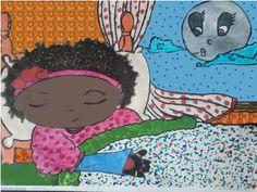 A Lua Lia,,contando historias para Laura, que agarrando-se ao sono,em lindos sonhos, pois-se adormecer.  Eduardo de Andrade.