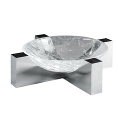 PAUL BELVOIR A ROCK CRYSTAL BOWL AND SILVER STAND the stone set within a cruciform support fully hallmarked for London 35.8cm. diam.; 1ft 2in. 2007