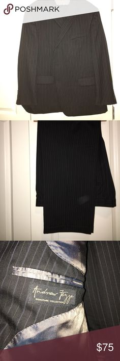 Andrew Fezza Signature Collection Suit Black pinstripe Andrew Fezza suit. I'll be honest, I don't know much about men's suits. This was my dad's before he lost weight. He took very good care of his suits! There's a small ink stain on the inside pocket as noted by the third picture. Smoke free home Andrew Fezza Suits & Blazers Suits