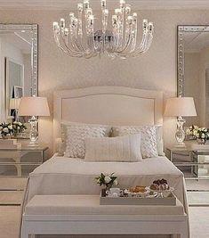 Luxury bedroom furniture mirrored night stands white headboard: - Luxury Home Bedroom Sets, Dream Bedroom, Home Bedroom, Bedroom Dressers, Bedding Sets, Light Bedroom, Bedroom Lighting, Bedroom Colors, Cream Bedroom Walls