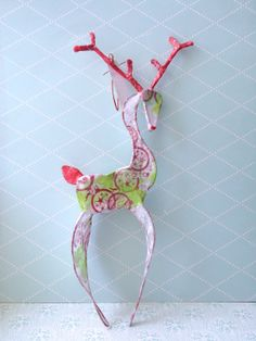 Items similar to reindeer - paper and wire ornament on Etsy