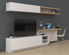 Bedroom Closet Design, Tv In Bedroom, One Bedroom Apartment, Home Room Design, Home Office Design, Desk In Living Room, Condo Living, Small Living Rooms, Tv Unit Furniture Design
