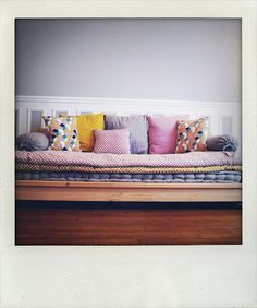 sofa with mix and match pillows and patterns