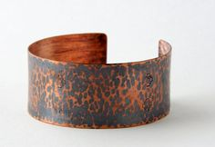 3498cc703ab Items similar to Hammered Copper Leopard Print Bracelet