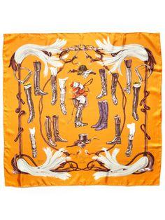 """""""A Propos de Bottes"""" Silk Twill Scarf 90cm by Hermès on Gilt.com"""