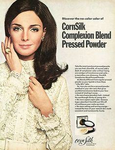 1969 CornSilk Complexion Blend Pressed Powder ad with Jennifer O'Neill