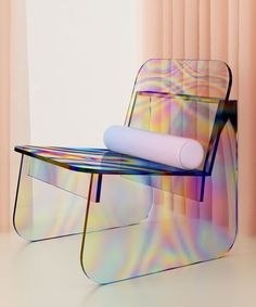 brazil-based multidisciplinary designer artur de menezes has designed a glass chair with iridescent surfaces to give the piece an 'oil slick' effect. Home Design, Design Design, Design Files, Creative Design, Unique Furniture, Furniture Design, Plywood Furniture, Decoupage Furniture, Art Furniture