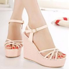 Cross Strap Wedge Sandals In Pink