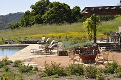 Firepit and pool - rustic - landscape - other metro - Arterra LLP Landscape Architects......meadow plantings