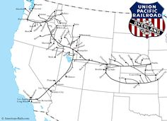 The Union Pacific Railroad was created in 1862 through the Pacific Railroad Act to build the Transcontinental Railroad. Today, it survives and is the largest Class I in the country. Us Railroad Map, Union Pacific Railroad, Railroad History, Train Map, Train Route, Pendleton Oregon, Train Drawing, System Map