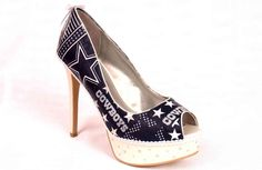 Women's Dallas Cowboys Platform Peep Toe Stiletto! Sparkle and glam added with varying sizes of Swarovski crystals on the platform and patterned along the length of the heel!!