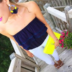 Love the combination of neon yellow and navy