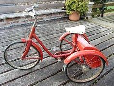 """Tricycle with """"boot' (I had a red tricycle very similar to this (I think it had been my brother's first, it certainly wasn't knew), but mine didn't have a boot. I remember being disappointed and longing for a boot. I had so much I wanted to put in it, especially Teddy who would have loved a ride)."""