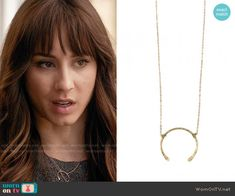 Spencer's necklace on Pretty Little Liars. Outfit Details: https://wornontv.net/56440/ #PLL