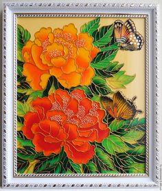 Картины цветов ручной работы. Ярмарка Мастеров - ручная работа. Купить Алые цветы с бабочками. Handmade. Ручная работа handmade