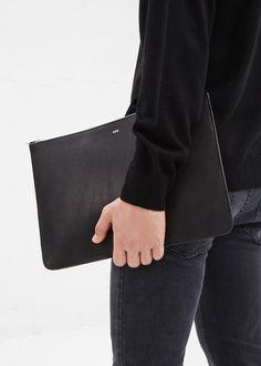 Totokaelo MAN - A.P.C. Black Leather Portfolio