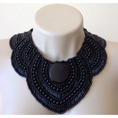 Beautiful black collar necklace just dripping with black beads!    :)