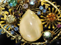 Signed Austria Rhinestone Brooch Art Glass Austrian Crystal Brooch Hollywood Mid Century 1950s 1960s Vintage Wedding Estate Jewelry