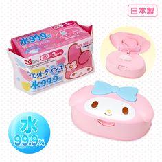 Rakuten My Melody face-shaped case containing wet tissue set: Sanrio online shop 1328 Yen