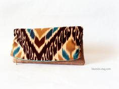 Luxe Foldover Clutch in Brown and Blue Ikat by Blue Nini