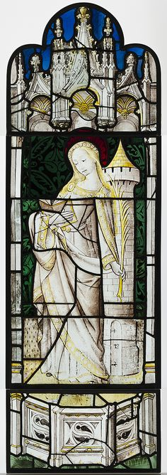 St Barbara. stained glass in the collection of the Cloisters, from the 15th-16th c. Book, palm leaf, gothic tower. The patron st. of architecture.