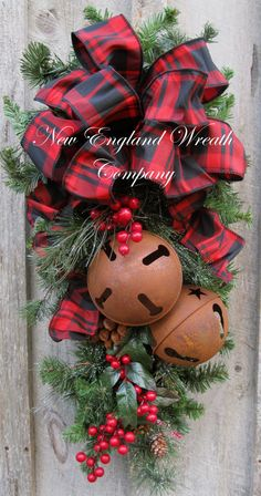 Christmas Swag, Holiday Door Wreath, Sleigh Bells, Christmas Wreath, Woodland, Rustic Christmas, Plaid Bow Swag on Etsy, $139.00