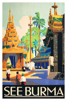 See Burma Vintage Travel Poster 1930s Poster Paper by WallArty