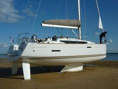 The Jeanneau Sun Odyssey 379 is designed so that you can beach your boat on a tide to clean the bottom and do maintenance without having to pay a boat yard.  Only a few boats can do this, but's it's pretty neat.