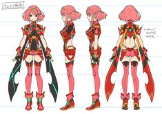 View an image titled 'Pyra Concept Art' in our Xenoblade Chronicles 2 art gallery featuring official character designs, concept art, and promo pictures. Character Reference Sheet, Character Model Sheet, Female Character Design, Character Modeling, Character Design References, Character Drawing, Character Concept, Concept Art, Female Characters