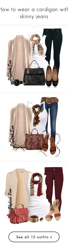 """""""How to wear a cardigan with skinny jeans"""" by stylisheve ❤ liked on Polyvore featuring moda, 7 For All Mankind, Soaked in Luxury, Burberry, Stephan Boya, Jean-Paul Gaultier, Marc by Marc Jacobs, Timeless, women's clothing e women"""