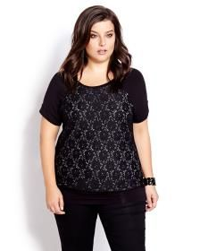 Crew Neck Top With Lace