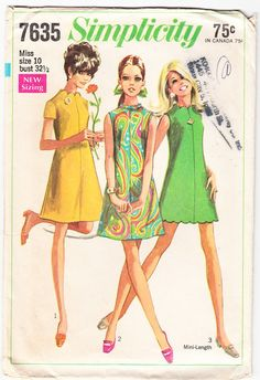 Vintage 1968 Simplicity 7635 Sewing Pattern Misses Dress in Two Lengths and Two Necklines Style Size 10 Bust 32-1/2
