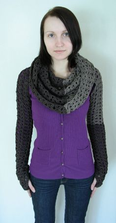 Transformer by Linda Skuja - awesome 2-color #crochet scarf / cowl / hood / armwarmers #pattern $11