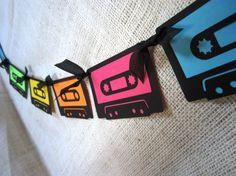 Neon Mixtape Banner 80s Cassette Birthday by cactusscraps on Etsy, $18.00