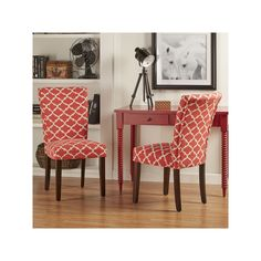 HomeVance 2-piece Salma Moroccan Trellis Side Dining Chair Set, Red