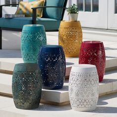 Sonoma Goods For Life® Small Metal Garden Stool Accent Table | Kohls Metal Outdoor Table, Outdoor Table Decor, Patio Side Table, Outdoor Accent Tables, Patio Decorating Ideas On A Budget, Patio Ideas, Porch Ideas, Gazebo Ideas, Outdoor Ideas