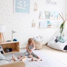 This room from @charlotteandtheo is absolute perfection! ♡ The wallpaper... the teepee... the cute little fellow playing away!! x #littlegathererkids #littlegathererspaces #Regram via @littlegatherer
