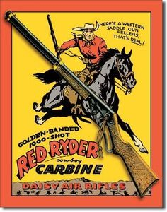 "Daisy Red Ryder Carbine Metal Tin Sign 12.5""W x 16""H by Poster Revolution. $10.19. tin signs are new and may have a vintage or distressed appearance. ships quickly and safely in a protective envelope. enameled paint is attractive and very durable. measures 12.50 by 16.00 inches. professional quality metal / tin sign. Daisy Red Ryder Cowboy Carbine Air Rifle Retro Vintage Tin Sign. Save 59%!"